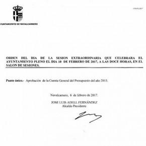 Cs Navalcarnero vota EN CONTRA de la Cuenta General del Presupuesto del año 2015 al haberse presentado fuera de plazo.